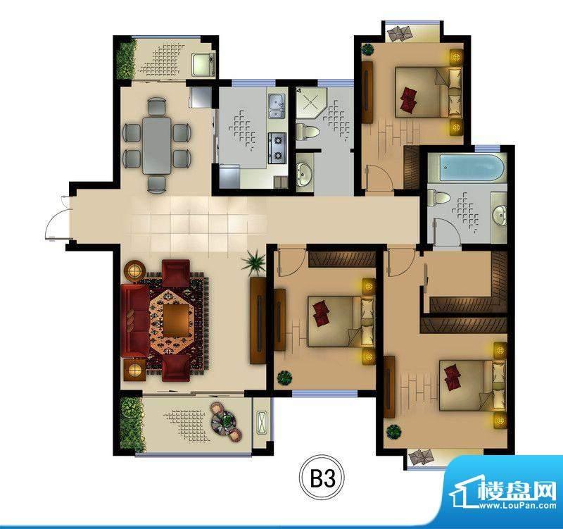 正德君城B3户型 3室面积:127.60平米
