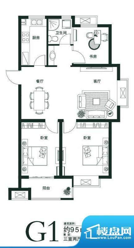 山语世家G1户型 3室面积:95.00平米