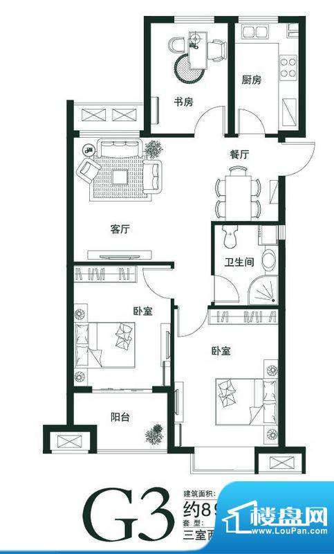 山语世家G3户型 3室面积:89.00平米