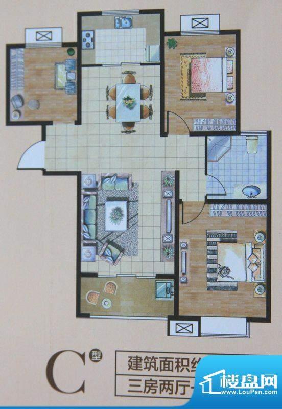 九里景秀C户型图 3室面积:112.00平米