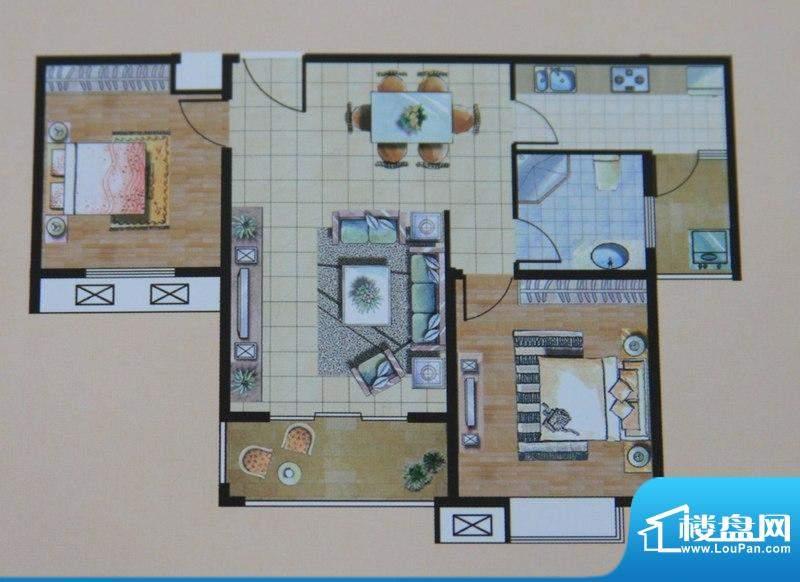 九里景秀B户型图 2室面积:92.00平米