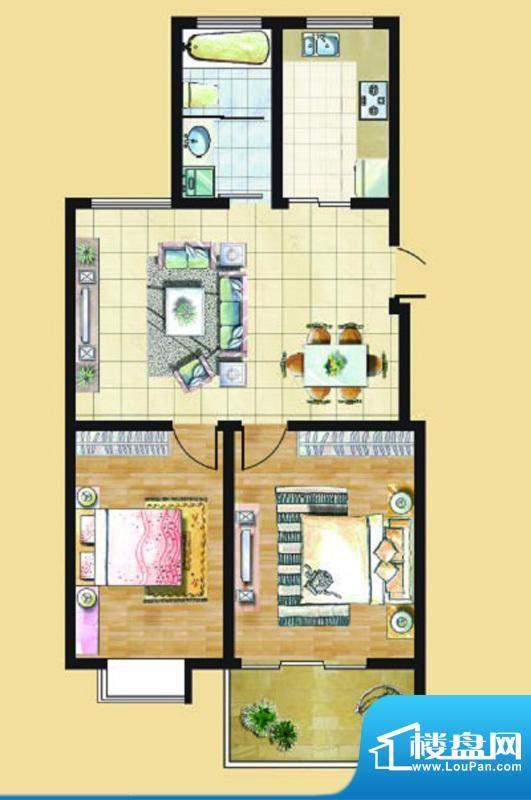 九里景秀G2户型 2室面积:0.00平米