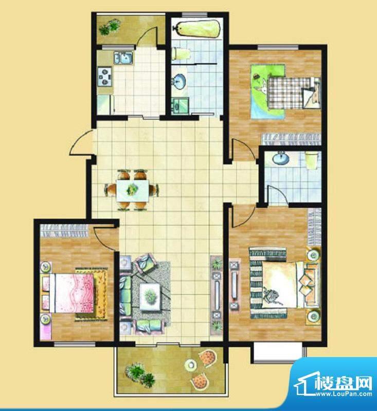 九里景秀G4户型 3室面积:0.00平米