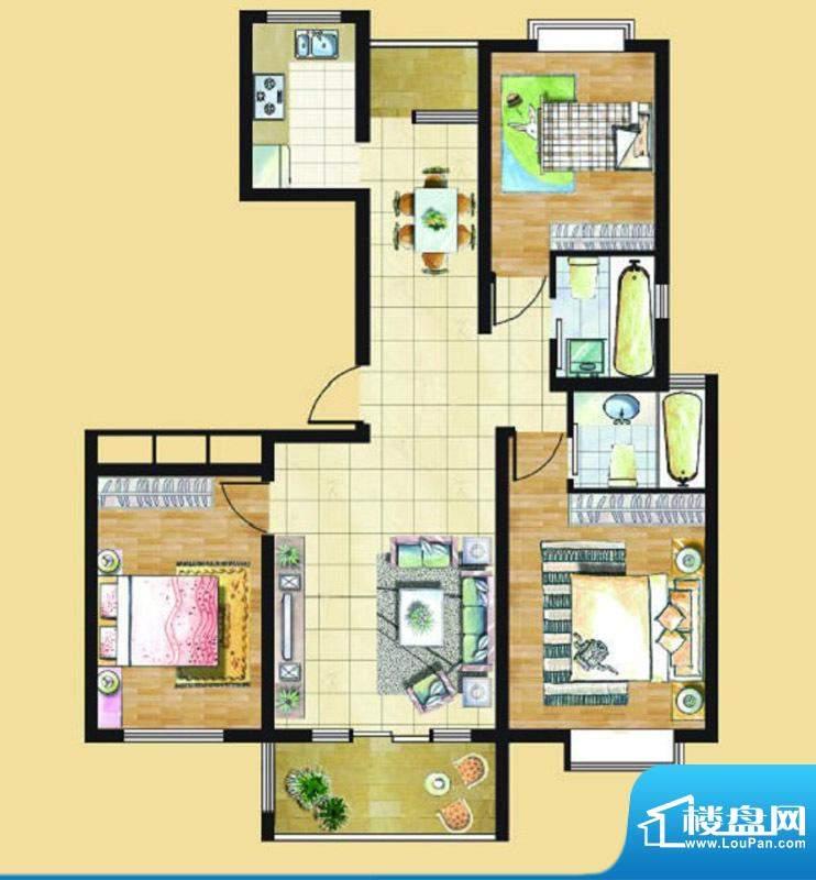 九里景秀G6户型 3室面积:0.00平米