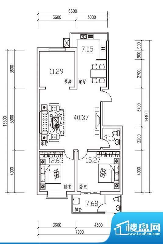 幸福苑B户型 三室两面积:126.90m平米