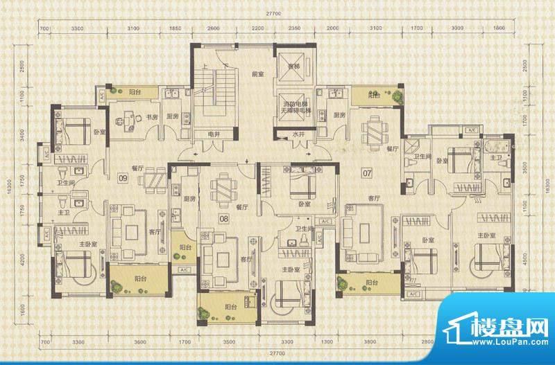 中信德方斯1号楼07/面积:130.00m平米