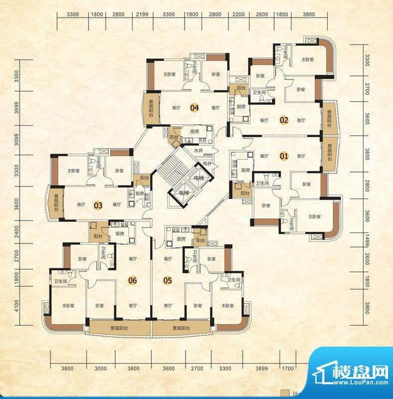 尚湖轩二期6栋户型 面积:0.00m平米