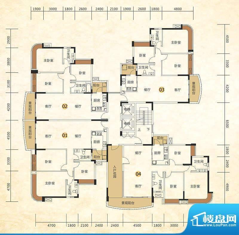 尚湖轩二期8栋户型图面积:134.00m平米