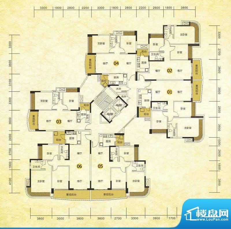 尚湖轩二期6栋标准层面积:106.00m平米