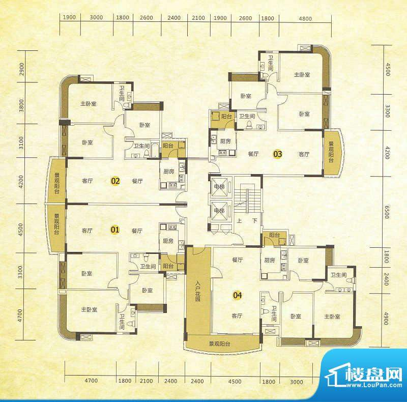 尚湖轩二期8栋标准层面积:134.00m平米