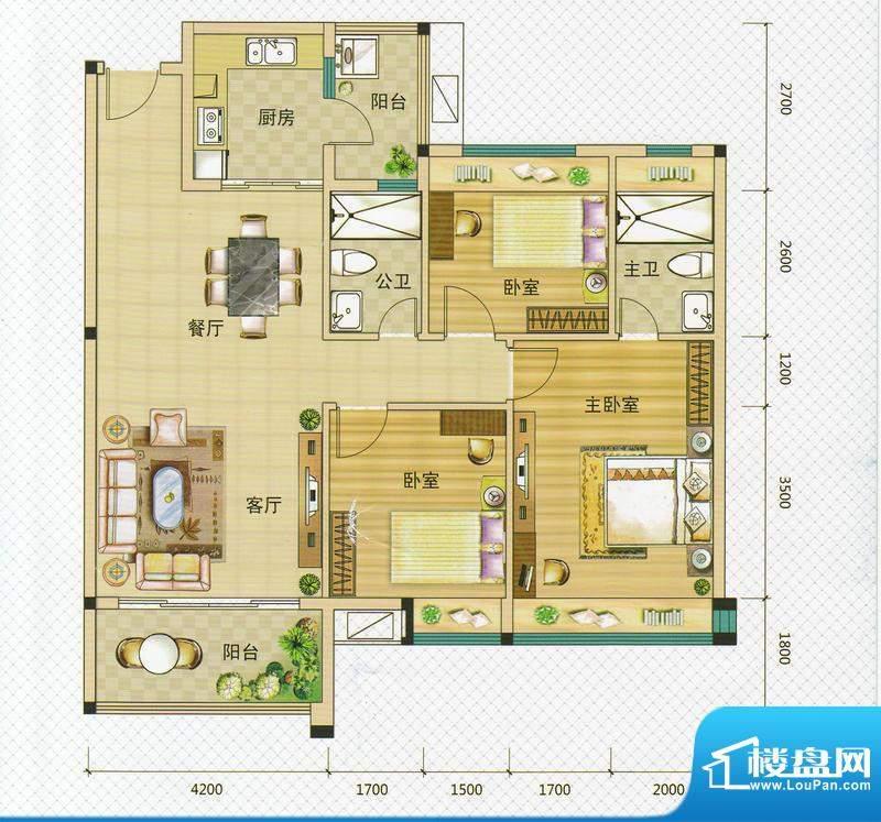 万领盛世2/5栋04 3室面积:120.00m平米