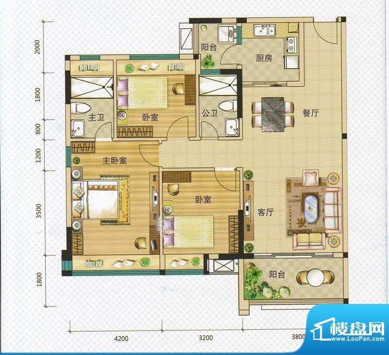 万领盛世2/5栋03 3室面积:117.40m平米