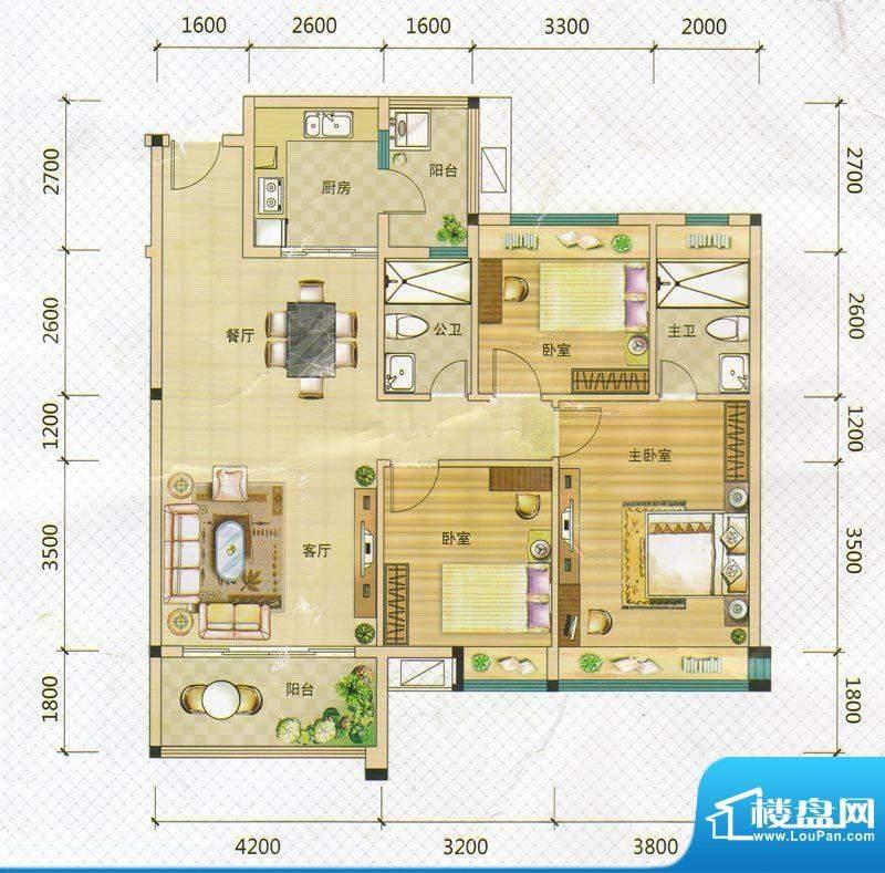 万领盛世1/4栋04户型面积:119.70m平米