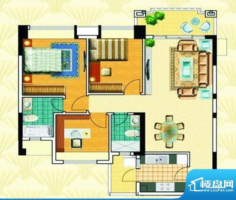 瀚华花园105平米三房面积:105.00m平米
