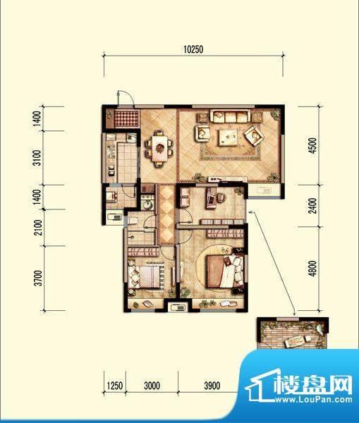 中海国际社区18F高层面积:105.00m平米