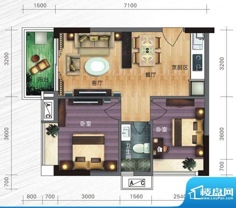 旭日曦苑户型图c2面积:69.00m平米