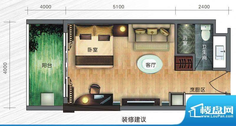 旭日曦苑户型图a5面积:46.00m平米