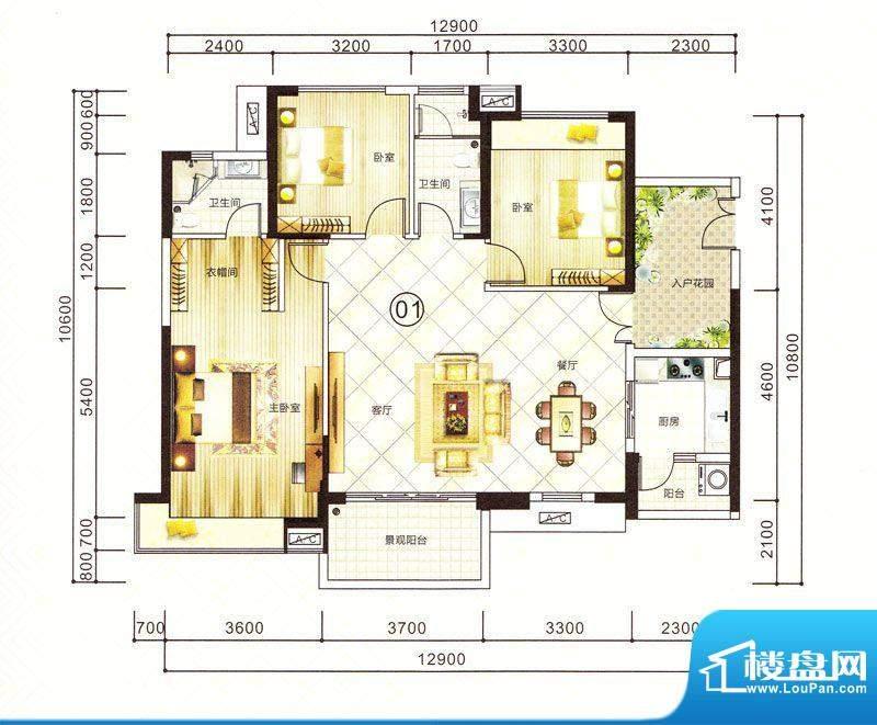紫园15栋01户型 3室面积:127.76m平米