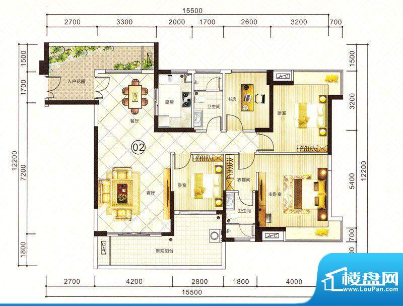 紫园15栋02户型 4室面积:153.22m平米