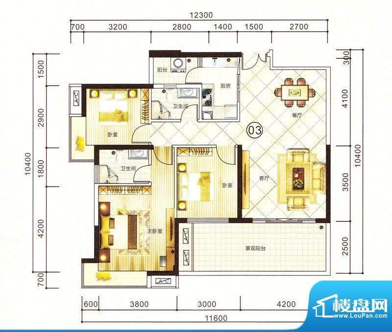紫园15栋03户型 3室面积:128.39m平米
