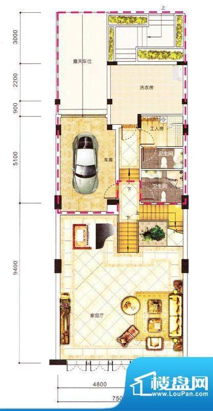 紫园别墅1栋负一层 面积:0.00m平米