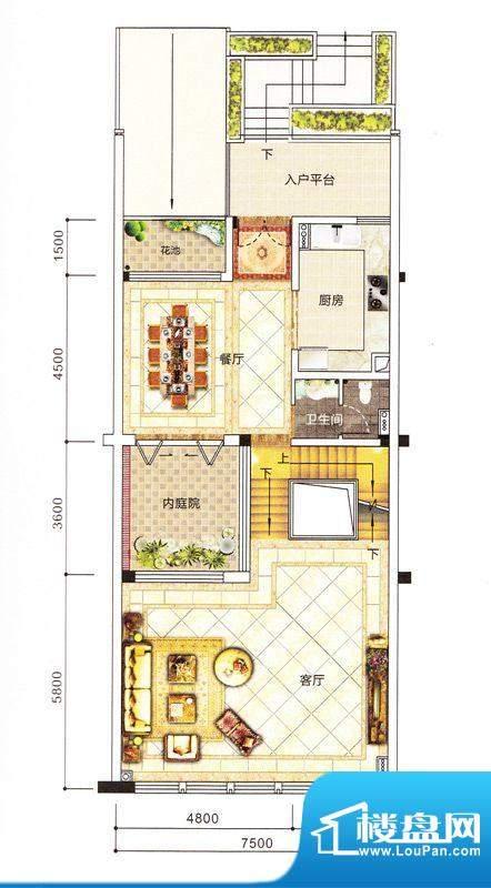 紫园别墅1栋首层 面积:0.00m平米