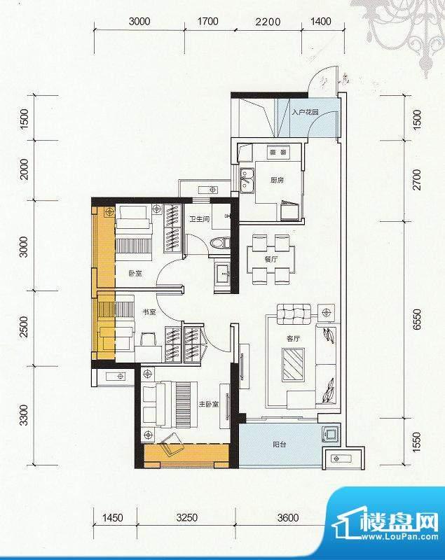 万科金色家园D户型 面积:89.00m平米