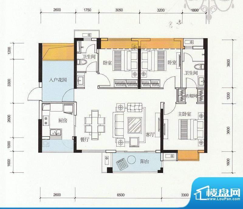 万科金色家园C户型 面积:117.00m平米