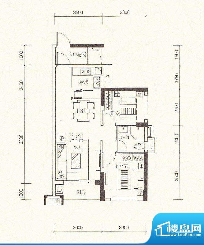 万科金色家园A户型 面积:78.00m平米