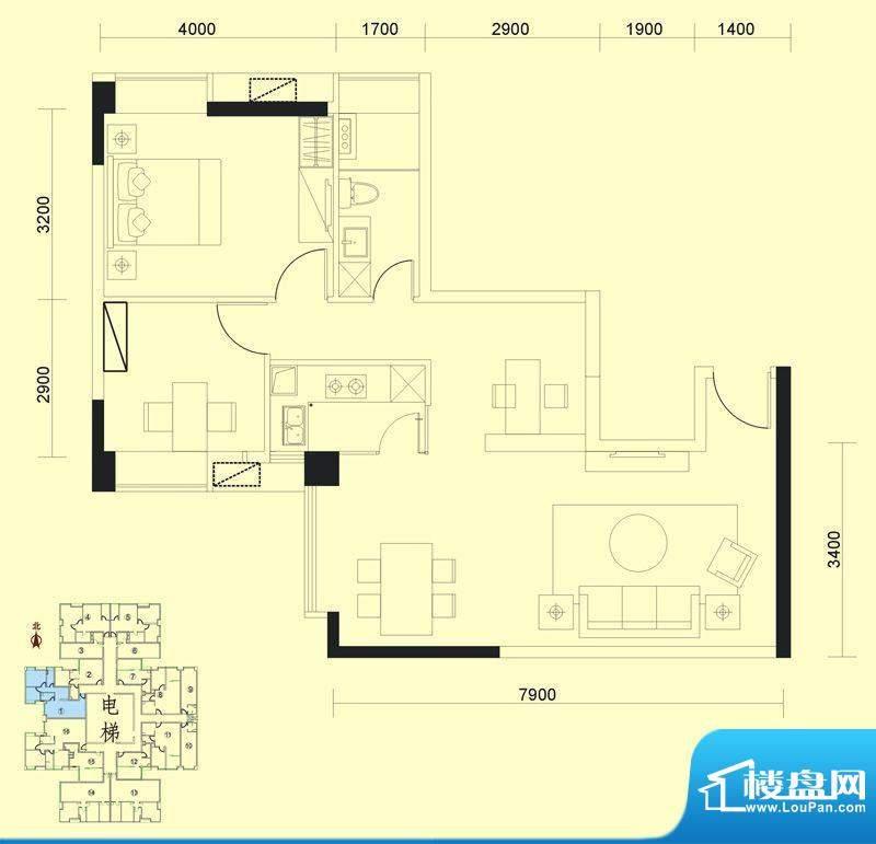 达兴豪苑1座1号 2室面积:94.42m平米