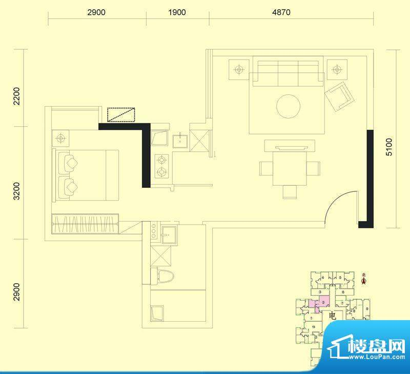 达兴豪苑1座2号 1室面积:58.44m平米