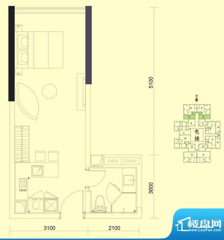 达兴豪苑1座3/6号 1面积:40.24m平米