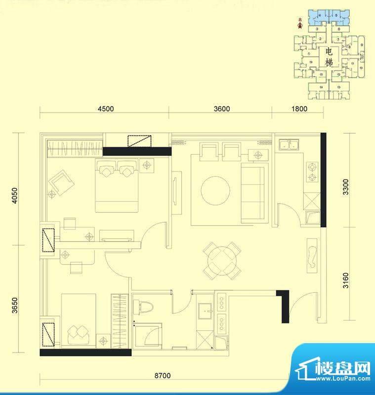 达兴豪苑1座4/5号 2面积:84.91m平米
