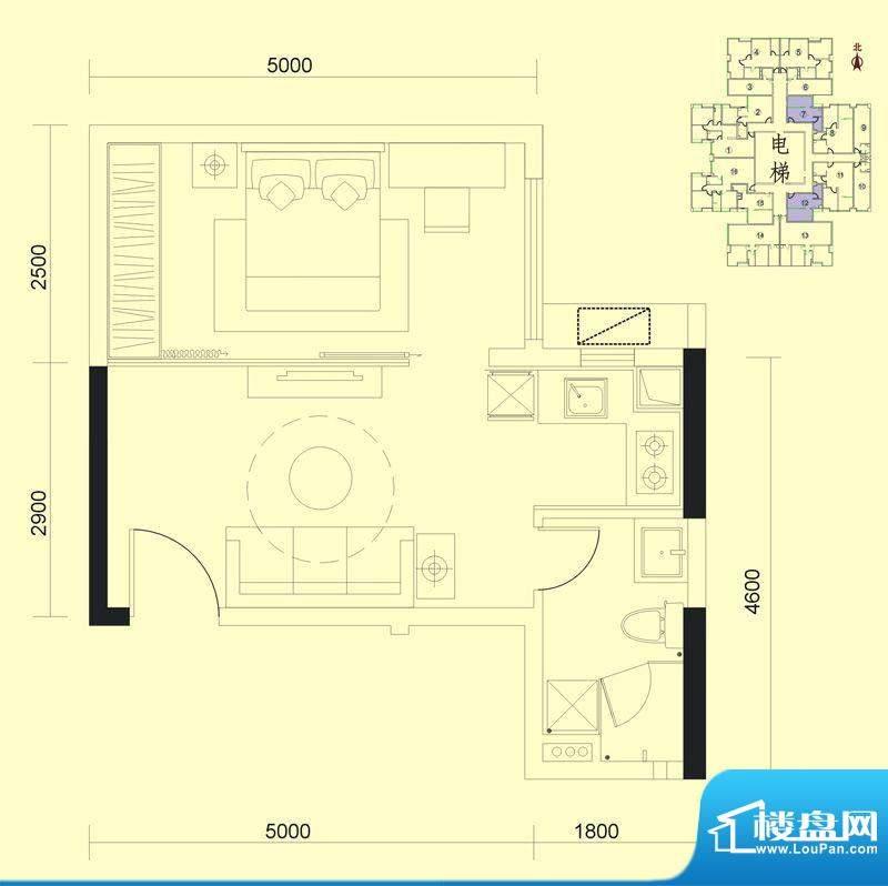 达兴豪苑1座7/10/12面积:43.27m平米