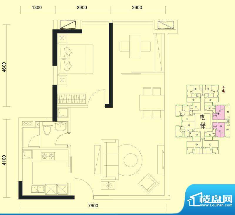 达兴豪苑1座8/11号 面积:76.28m平米