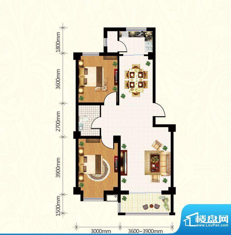 盛世雅园A户型(1#、面积:90.11m平米