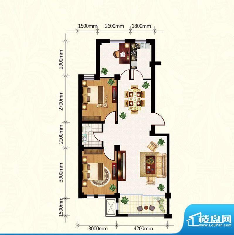 盛世雅园B户型(2#) 面积:96.35m平米