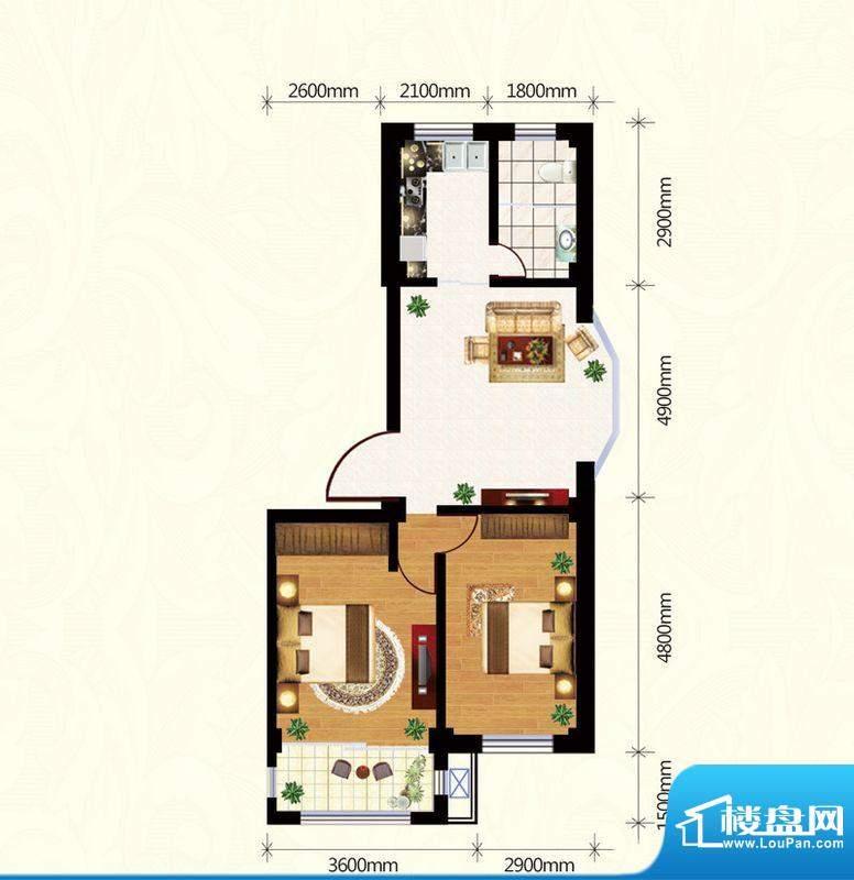 盛世雅园C户型(2#) 面积:90.50m平米