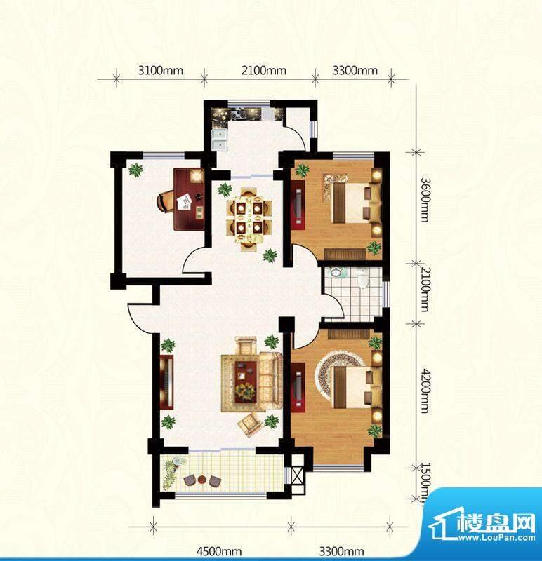 盛世雅园E户型(4#) 面积:107.50m平米