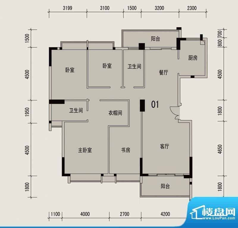 岭南印象1栋3座01户面积:154.83m平米