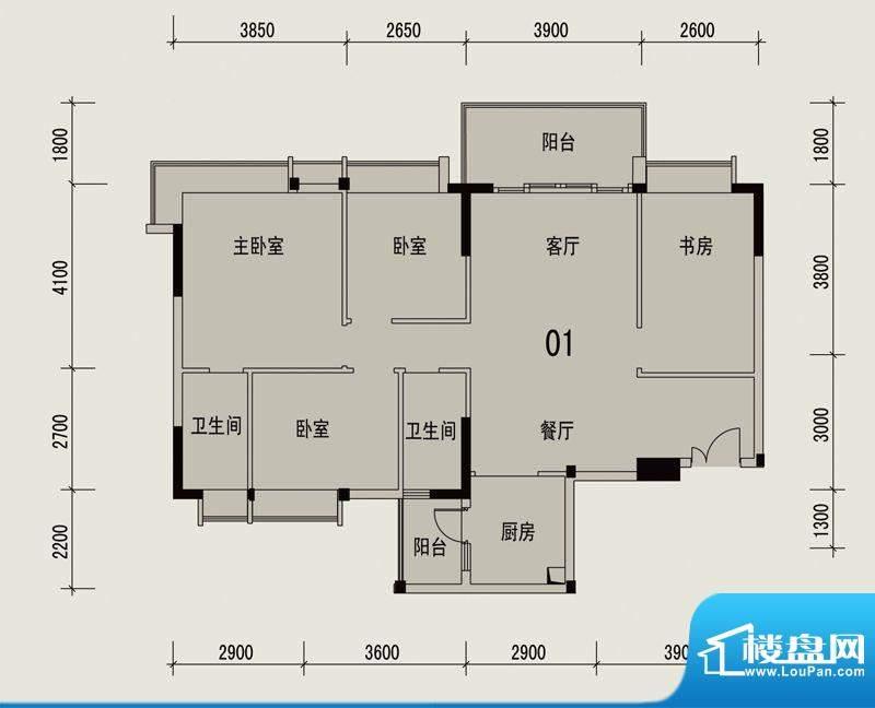 岭南印象2栋301户型面积:113.59m平米