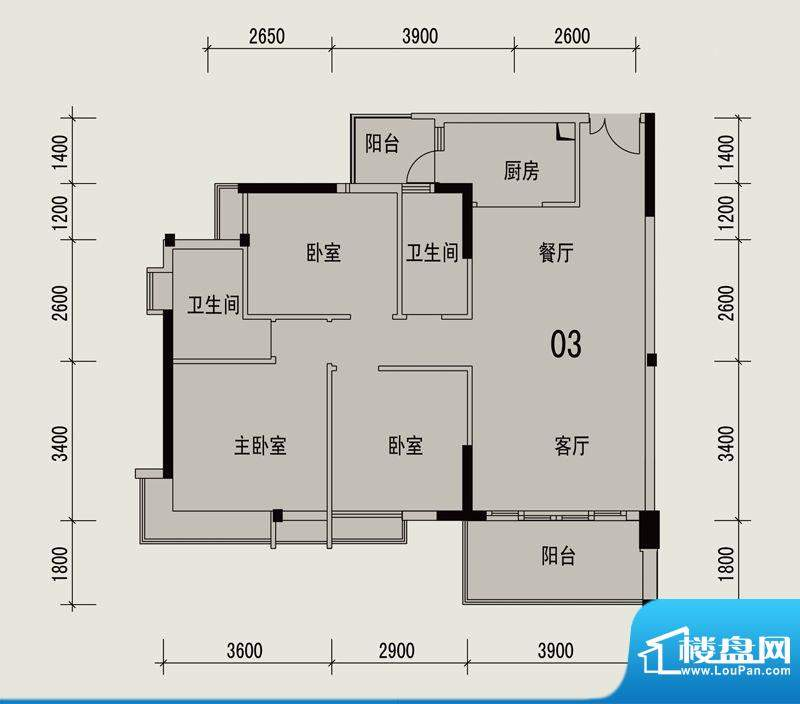 岭南印象2栋303户型面积:94.90m平米