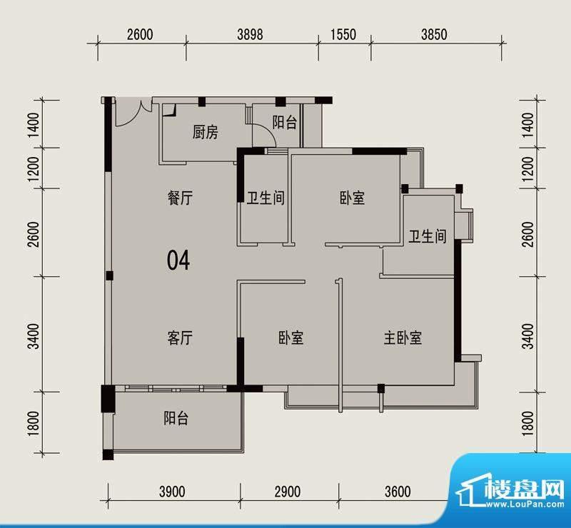 岭南印象2栋304户型面积:93.80m平米