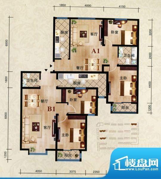 舜天嘉园A1户型 2室面积:94.00m平米