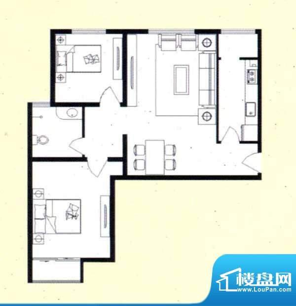 舜天嘉园A户型 2室2面积:91.43m平米