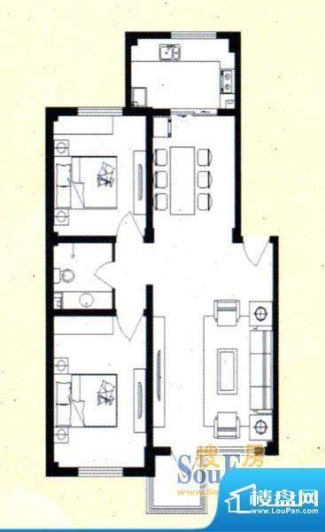 舜天嘉园E户型 2室2面积:95.91m平米