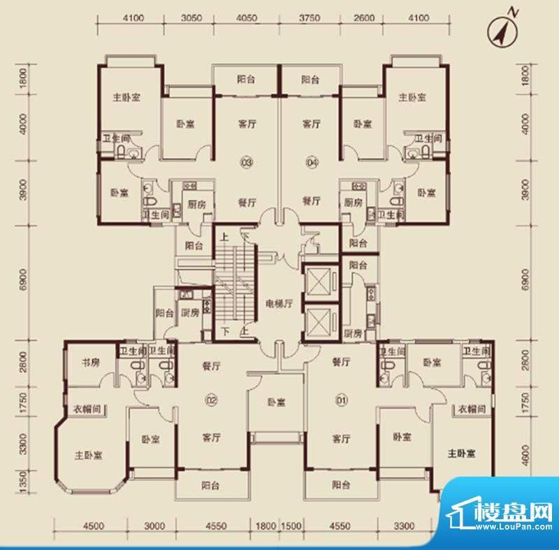 恒大绿洲户型图2 3室面积:142.00m平米