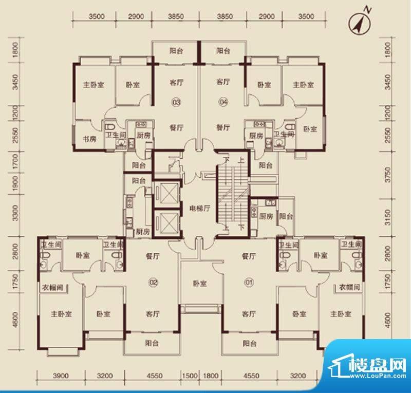 恒大绿洲户型图3 3室面积:110.00m平米