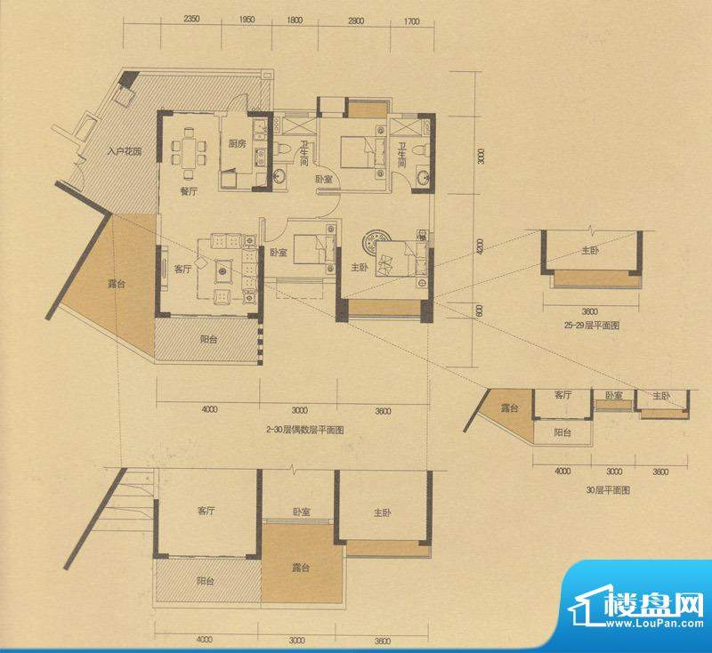 中山奥园B14户型 3室面积:112.00m平米
