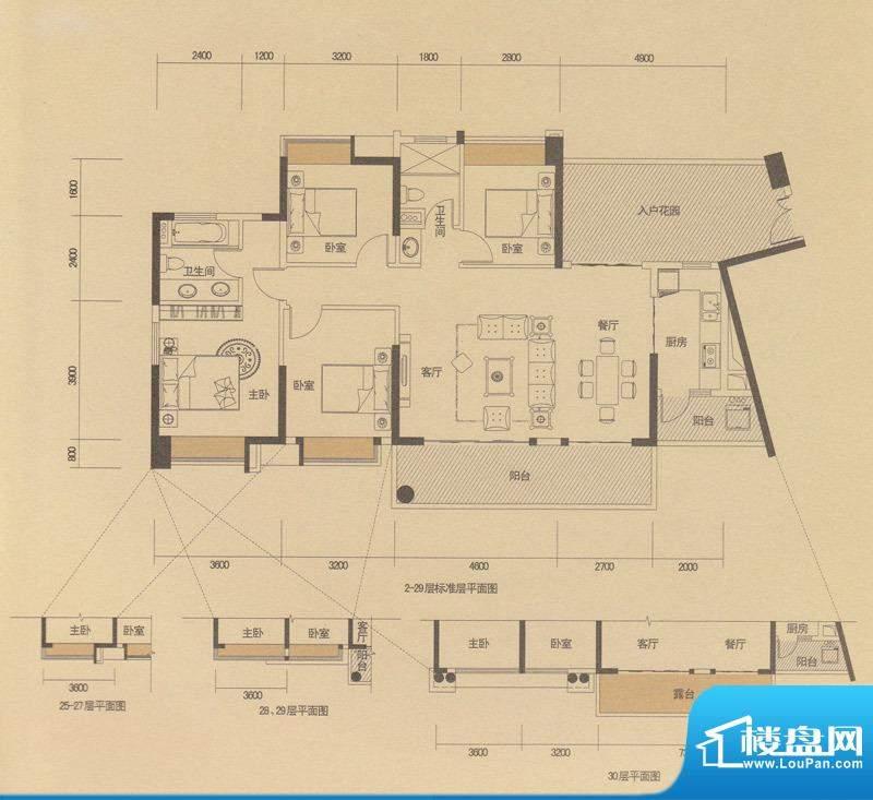 中山奥园天邑C6户型面积:150.00m平米